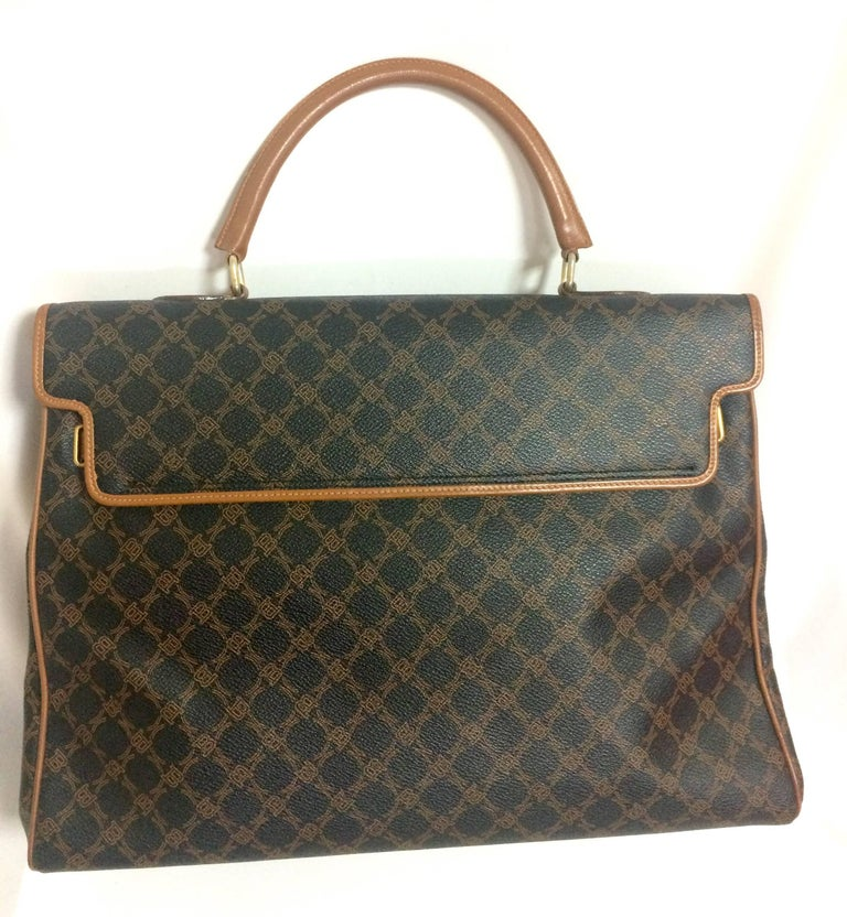 Vintage Bally Large Brown Handbag In Classic Kelly Bag