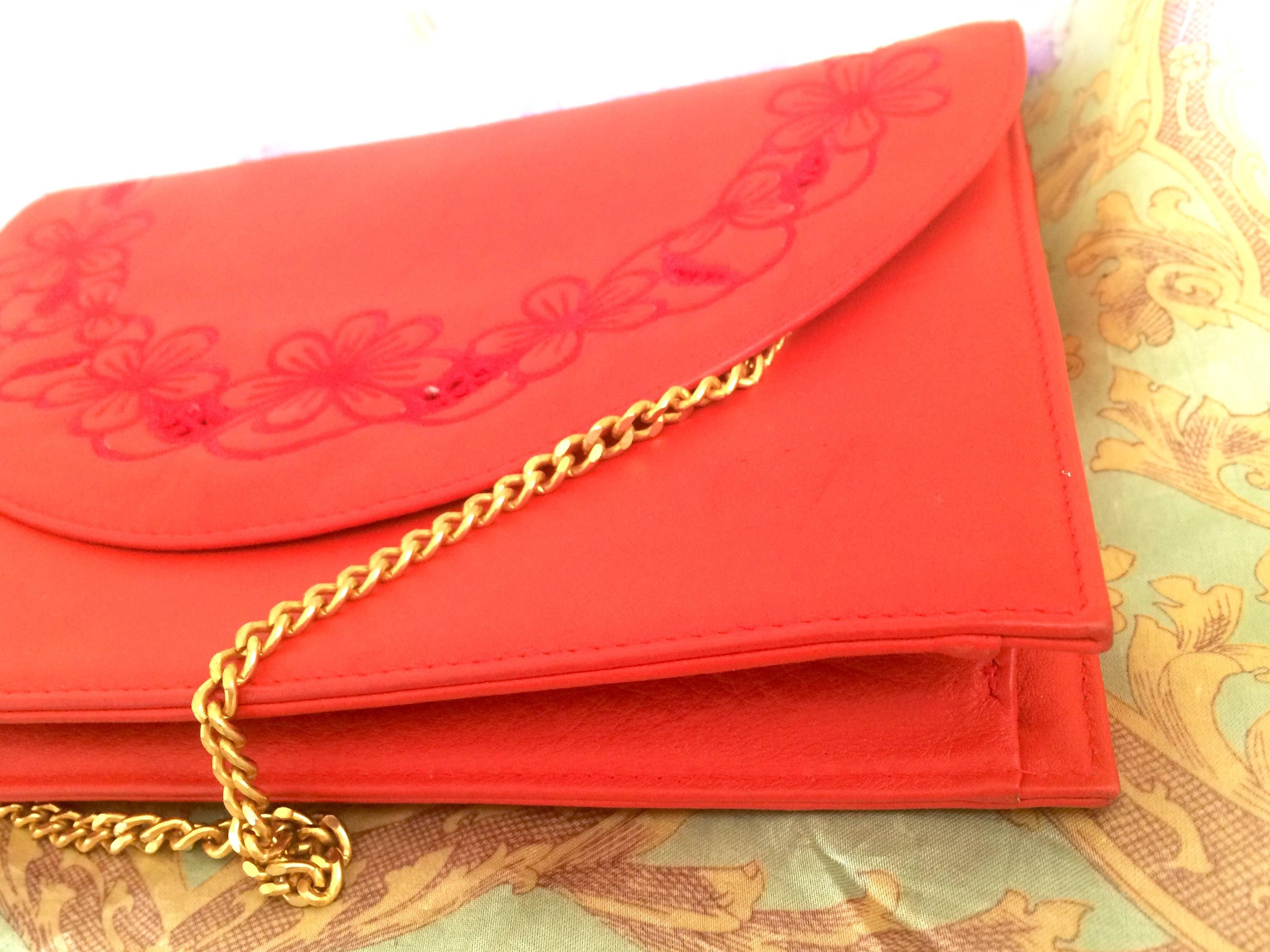 Valentino Vintage Valentino Garavani Red Clutch Shoulder Bag With Flower Embroidery Deco fGJ5H1uQeh