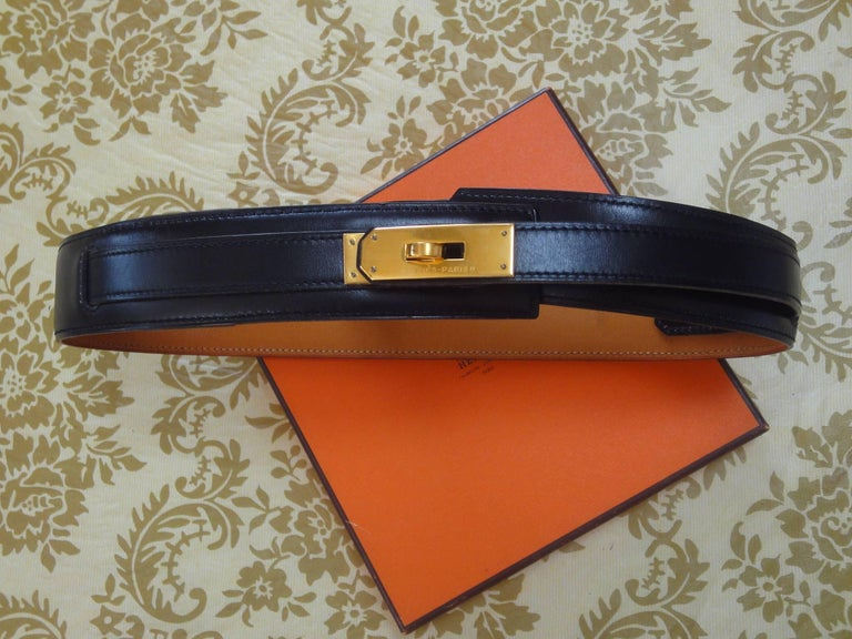 1989. MINT. Vintage HERMES black box calf leather Kelly belt. Stamp S in O, 1989. size 65. 23