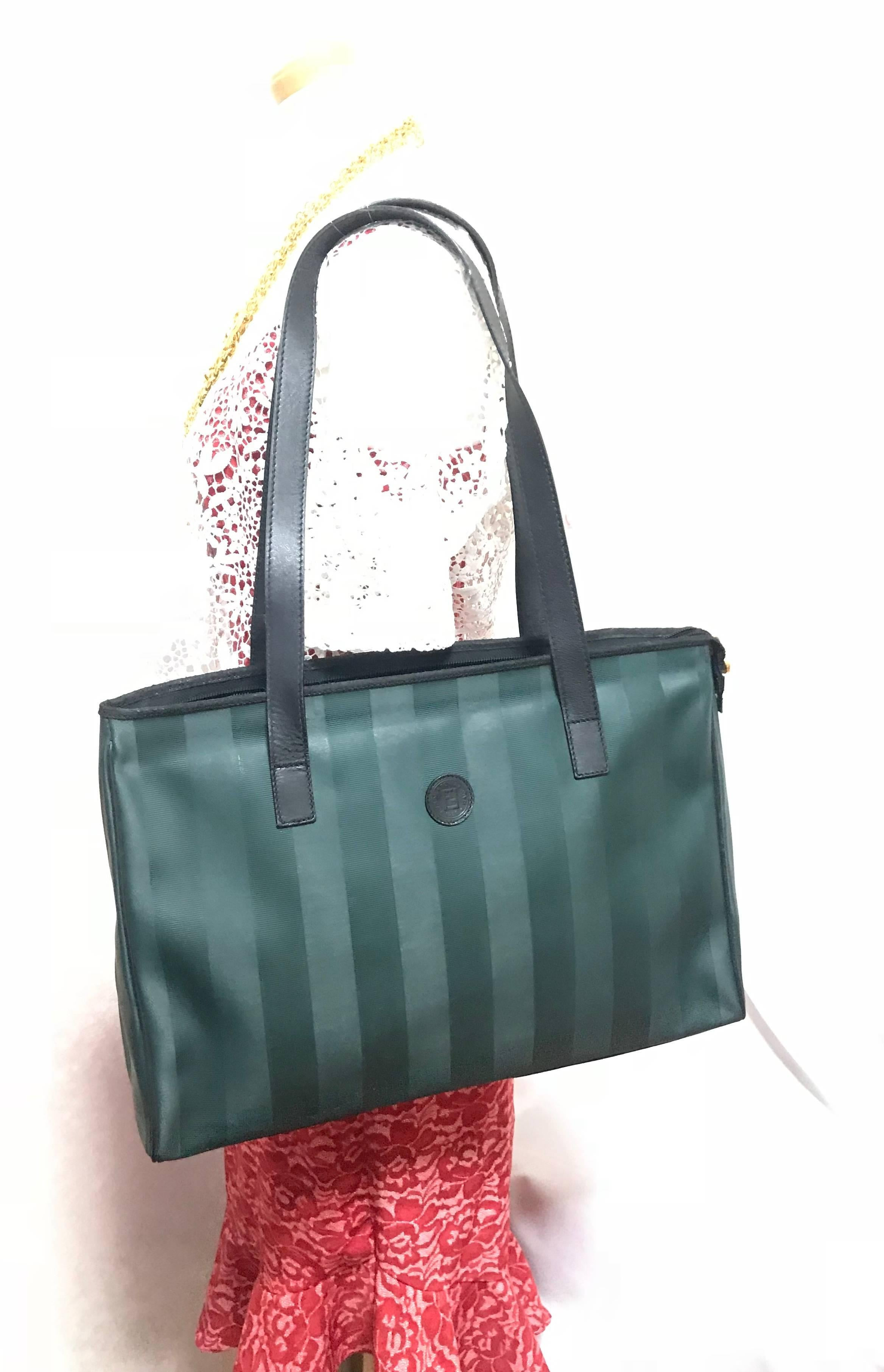 3c38e59f052f ... wholesale listings vintage fendi classic dark green pecan stripe large  shopper tote bag. for sale czech fendi zucca ...
