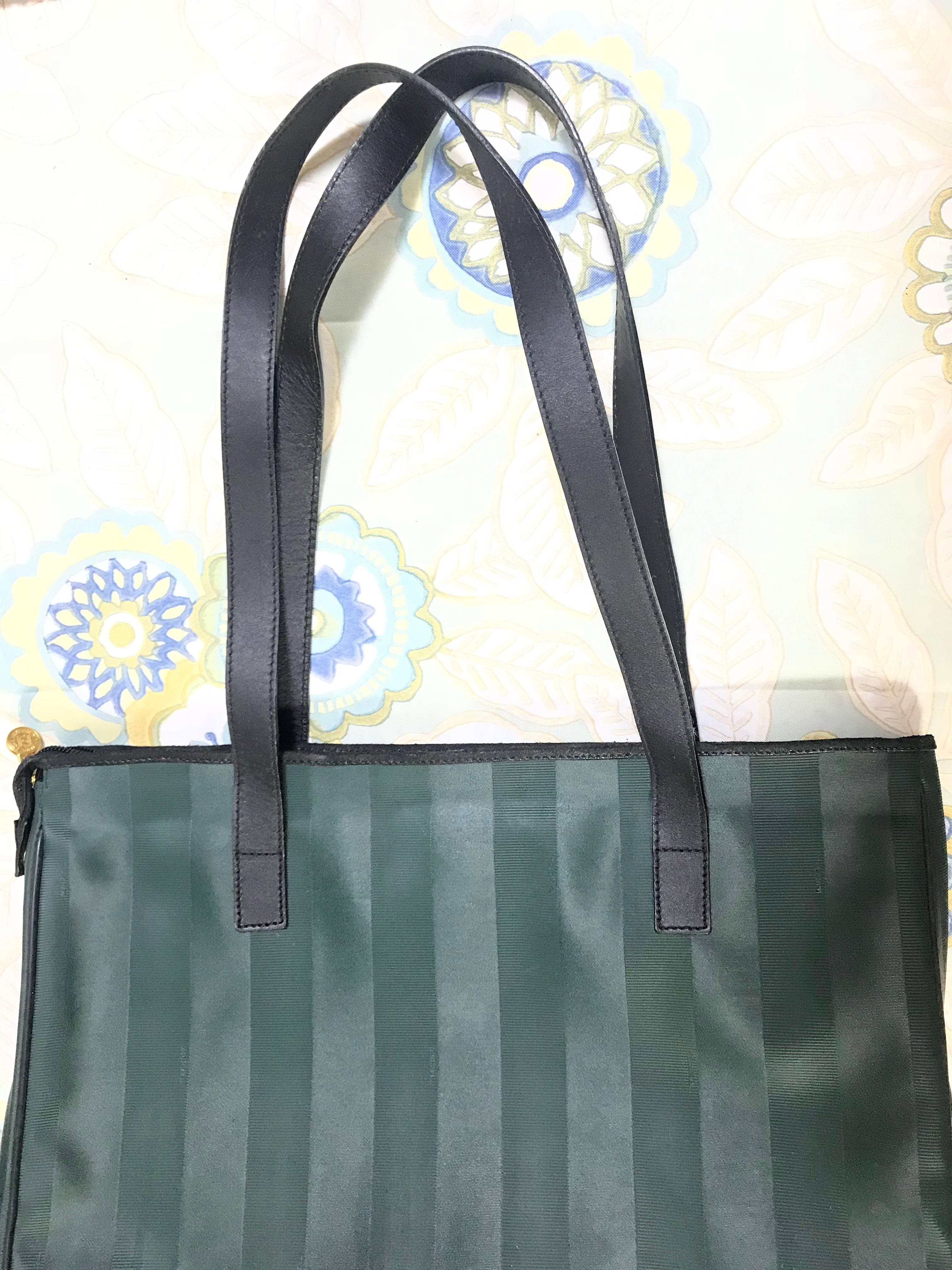 8e4a3eab60 ... best black listings vintage fendi classic dark green pecan stripe large  shopper tote bag. for