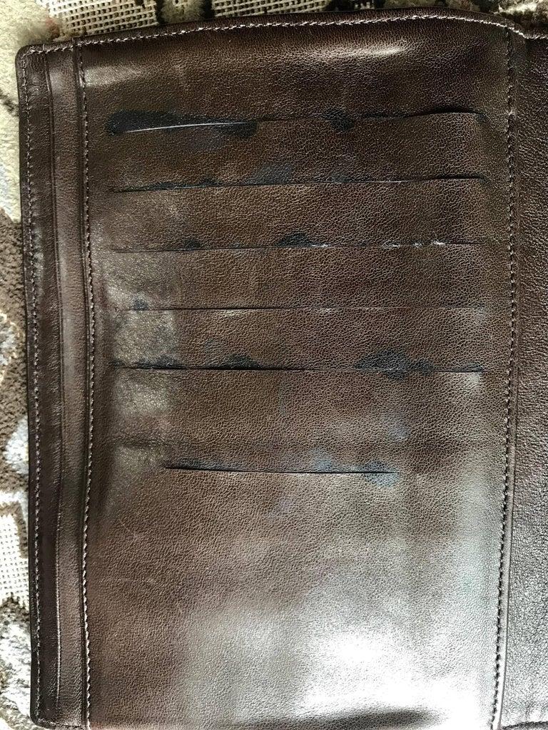 Vintage CHANEL brown clutch bag, wallet, bill, checkbook, iPhone case purse.  For Sale 6