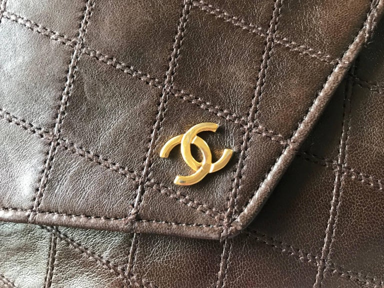 Gray Vintage CHANEL brown clutch bag, wallet, bill, checkbook, iPhone case purse.  For Sale