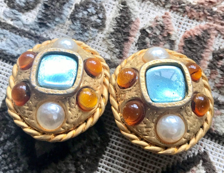1990s. Vintage CHANEL golden oval faux pearl, light blue and orange gripoix jewel stone extra large earrings. Masterpiece jewelry.  Fun and Chic and Gorgeous CHANEL earrings for  you or your loved one!   Great gift idea.   Introducing large unique