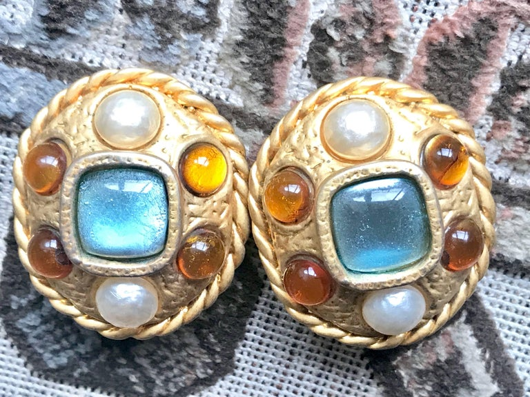 Women's Vintage CHANEL golden oval faux pearl, blue and orange gripoix large earrings. For Sale