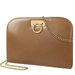 Vintage Salvatore Ferragamo brown leather shoulder purse with gold tone chain