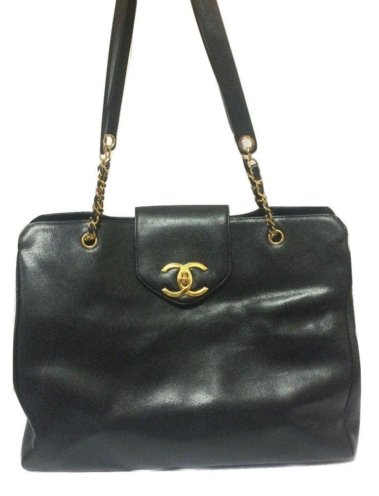Vintage Chanel Black Caviar Leather Overnighter Weekender Bag Large Chain