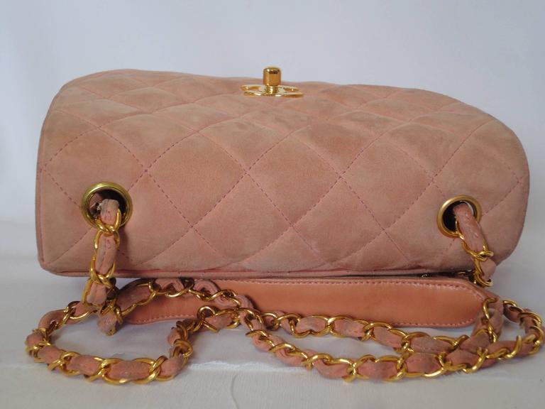 Vintage CHANEL light pink quilted suede 2.55 shoulder bag with gold tone chain 3