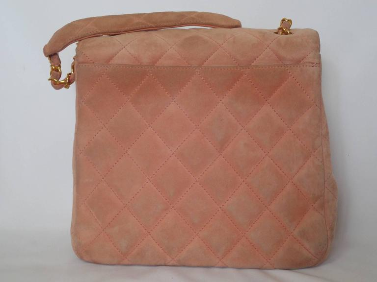 Vintage CHANEL light pink quilted suede 2.55 shoulder bag with gold tone chain 2