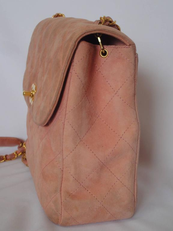 Vintage CHANEL light pink quilted suede 2.55 shoulder bag with gold tone chain 4