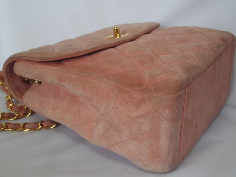Vintage CHANEL light pink quilted suede 2.55 shoulder bag with gold tone chain 5