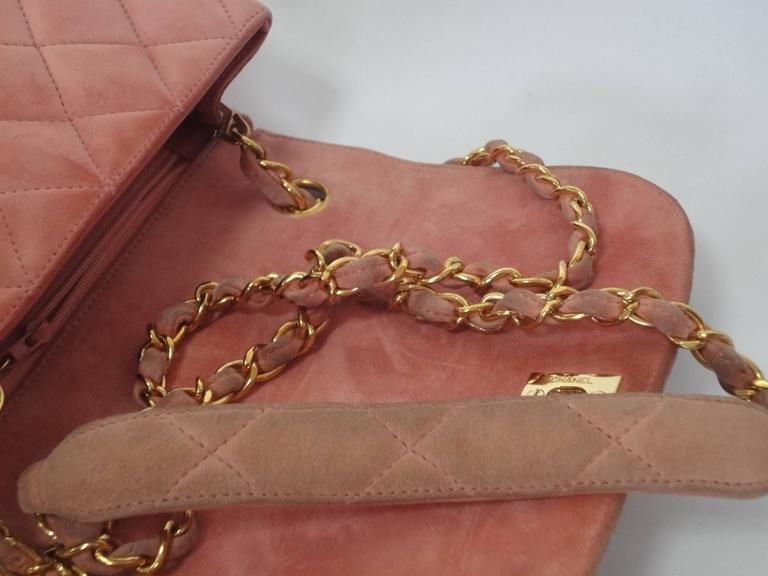 Vintage CHANEL light pink quilted suede 2.55 shoulder bag with gold tone chain 6