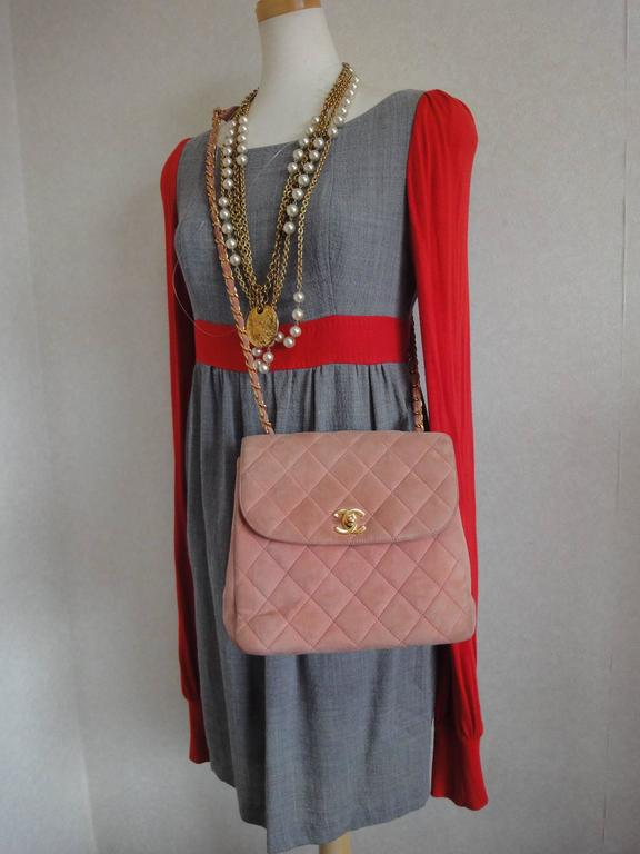 Vintage CHANEL light pink quilted suede 2.55 shoulder bag with gold tone chain 10