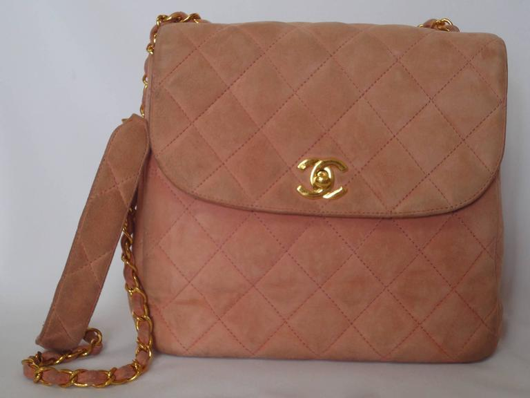 Vintage CHANEL light pink quilted suede 2.55 shoulder bag with gold tone chain 9