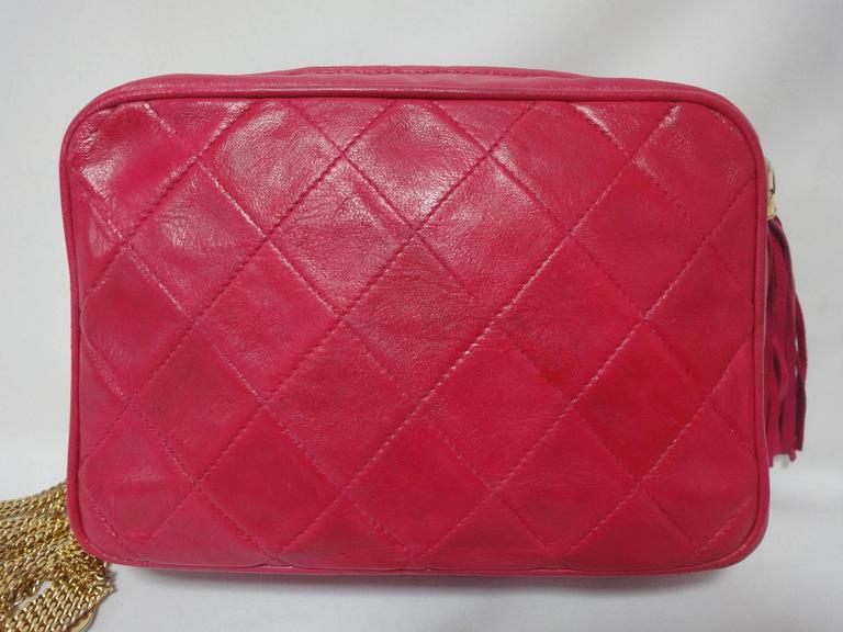 Vintage CHANEL pink lambskin camera bag style jewelry chain shoulder bag. 3