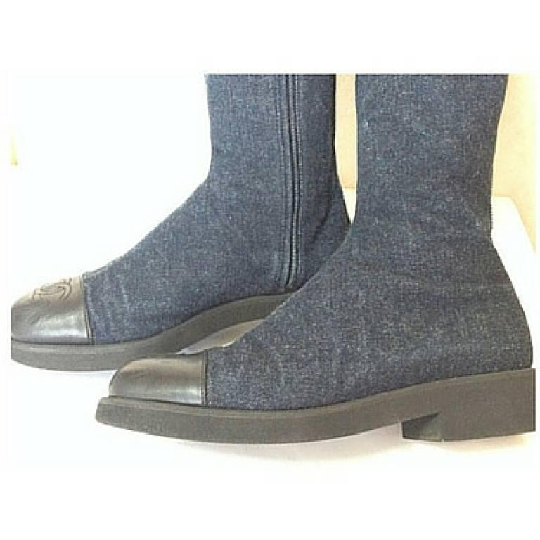 Women's MINT. Vintage CHANEL mid high, black leather and denim combination long boots For Sale