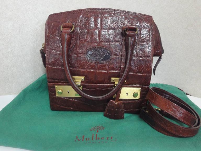 Mint Vintage Mulberry Croc Embossed Leather Birkin Doctor