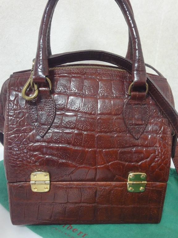 Mint Vintage Mulberry Croc Embossed Leather Birkin Doctor