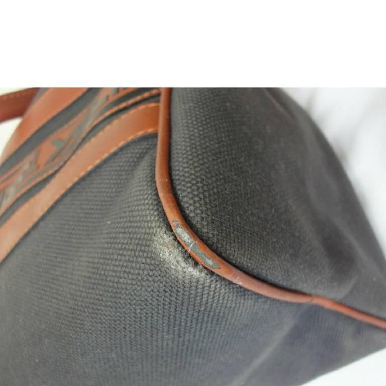 Vintage Yves Saint Laurent charcoal grey canvas and brown leather ...