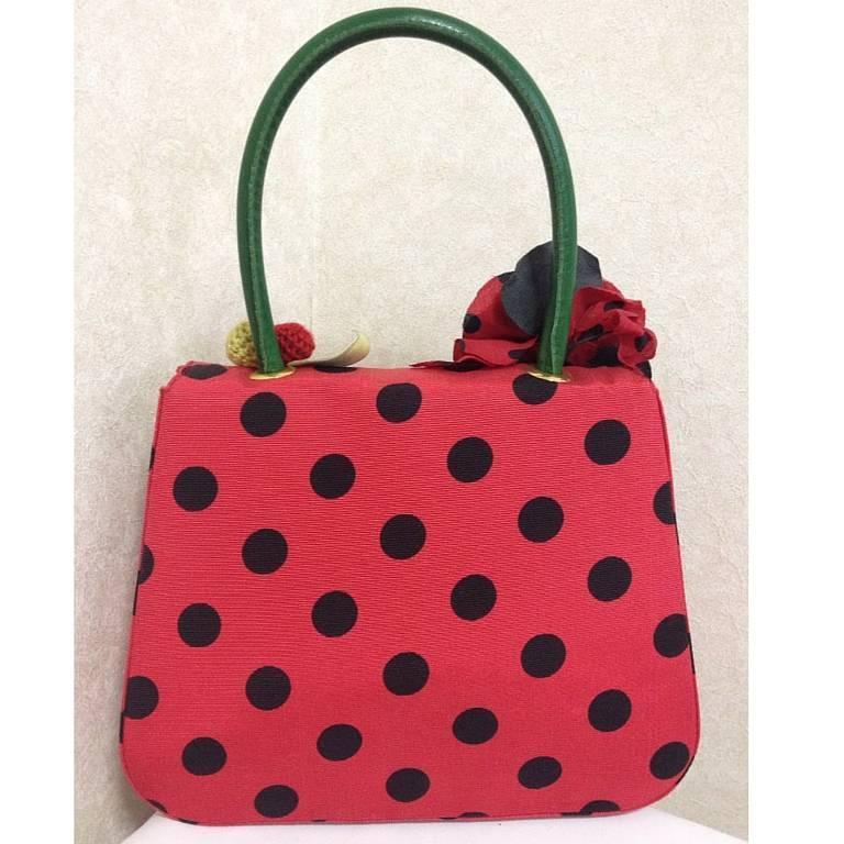 MINT Condition. Vintage MOSCHINO red and black canvas polkadot kelly handbag 2