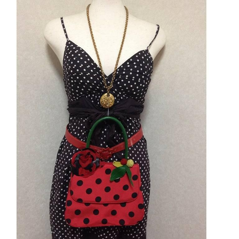 MINT Condition. Vintage MOSCHINO red and black canvas polkadot kelly handbag 7