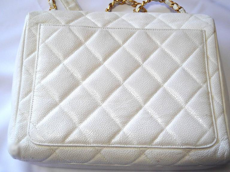 Vintage Chanel classic 2.55 white caviar leather square shape chain shoulder bag 2