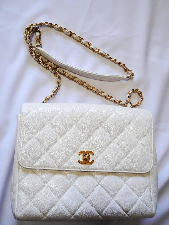 Vintage Chanel classic 2.55 white caviar leather square shape chain shoulder bag 9