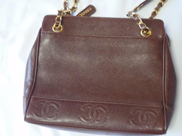 MINT. Vintage CHANEL dark brown caviar leather shoulder bag, tote with CC stitch marks and gold-tone chain and straps. Perfect daily use bag.  MINT, beautiful condition!! Just like NEW!  This is a vintage caviar leather chain shoulder tote bag