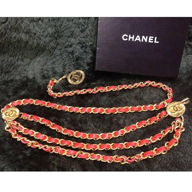 Mint. 80's Vintage CHANEL red leather chain belt with golden CC charms.  2