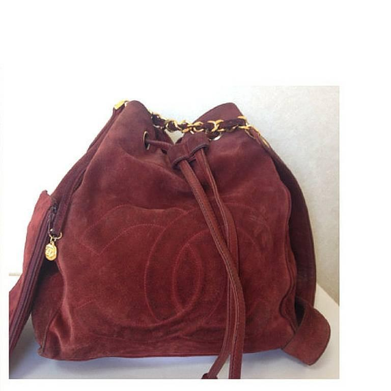 Vintage CHANEL wine red suede leather hobo bucket shoulder bag with drawstrings 2