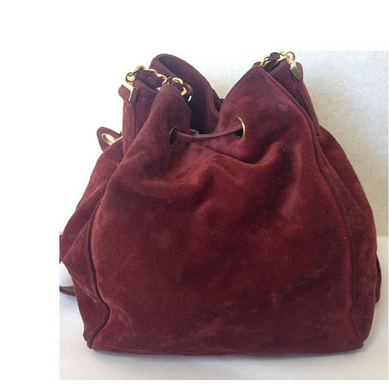 Vintage CHANEL wine red suede leather hobo bucket shoulder bag with drawstrings 3