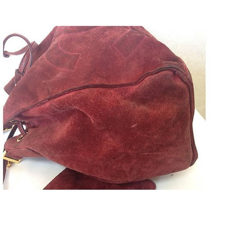 Vintage CHANEL wine red suede leather hobo bucket shoulder bag with drawstrings 4