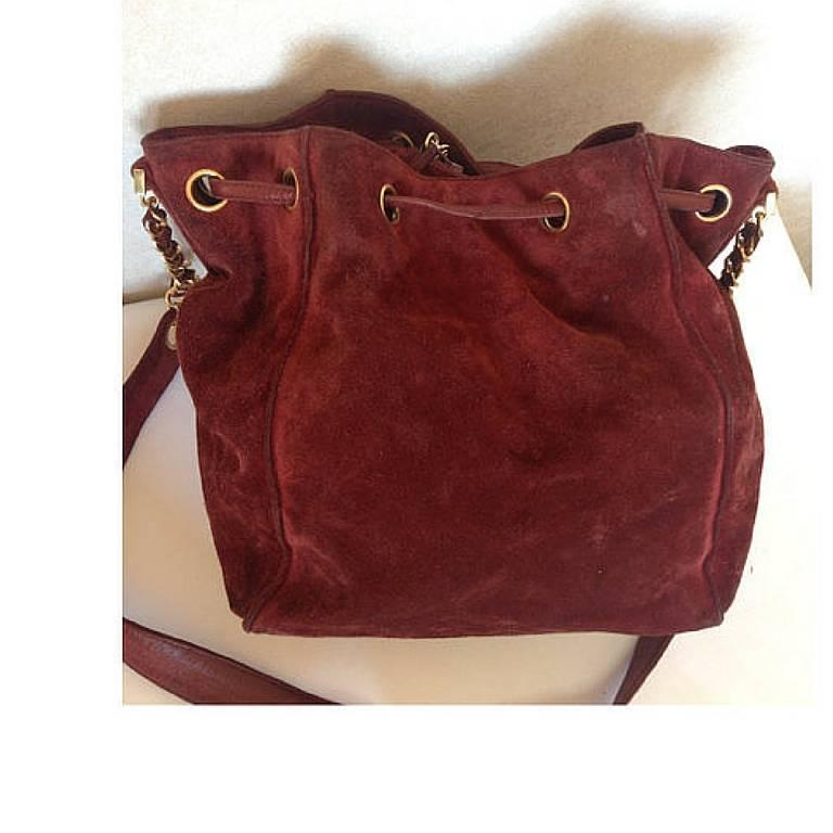 Vintage CHANEL wine red suede leather hobo bucket shoulder bag with drawstrings 5