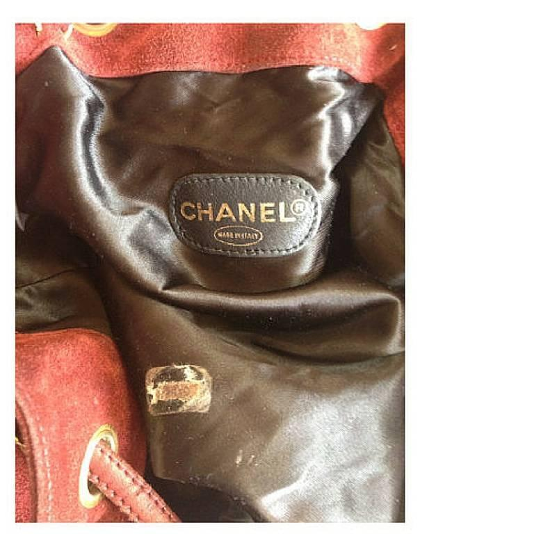 Vintage CHANEL wine red suede leather hobo bucket shoulder bag with drawstrings 7