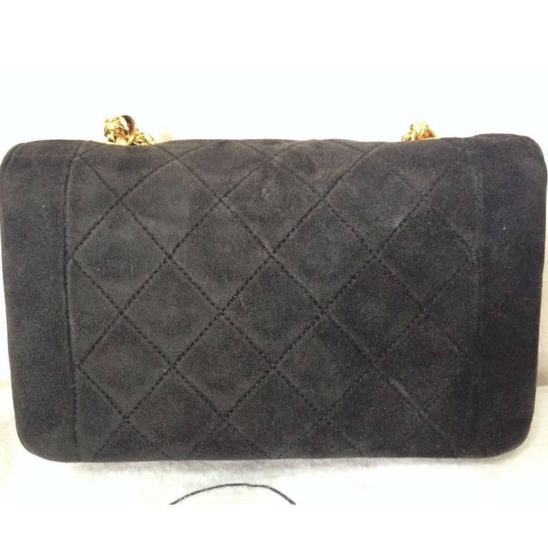 Black Vintage CHANEL charcoal black suede leather classic 2.55 shoulder gold chain bag For Sale