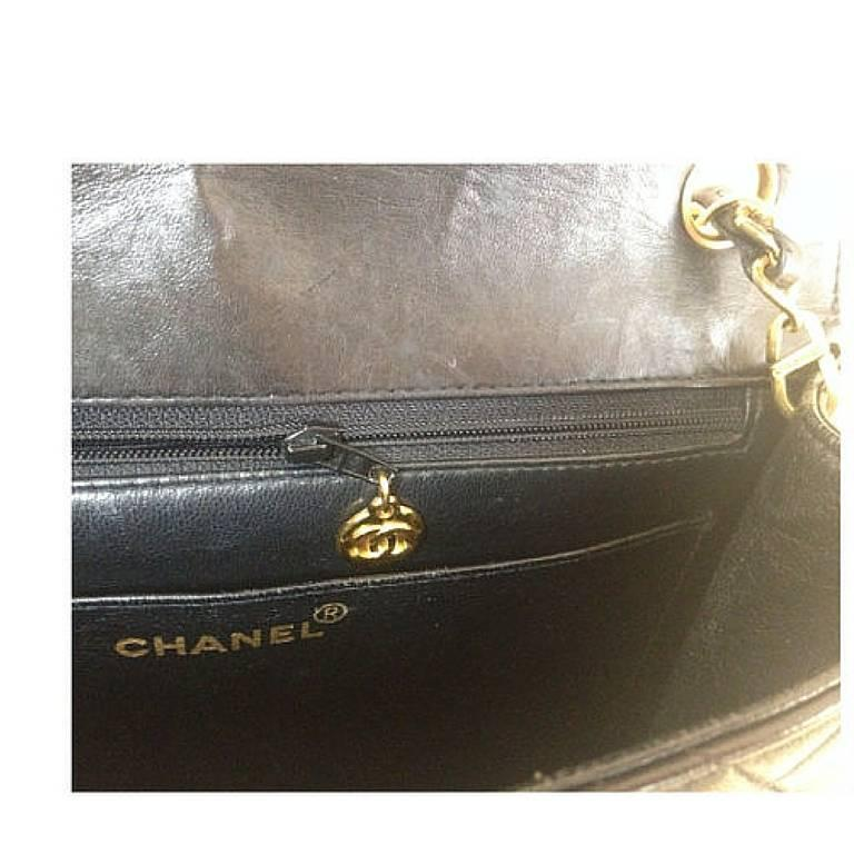Vintage CHANEL black lamb leather 2.55 classic square shape shoulder bag with cc 8