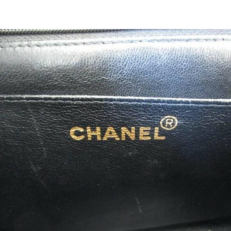 Vintage CHANEL black lamb leather 2.55 classic square shape shoulder bag with cc 9