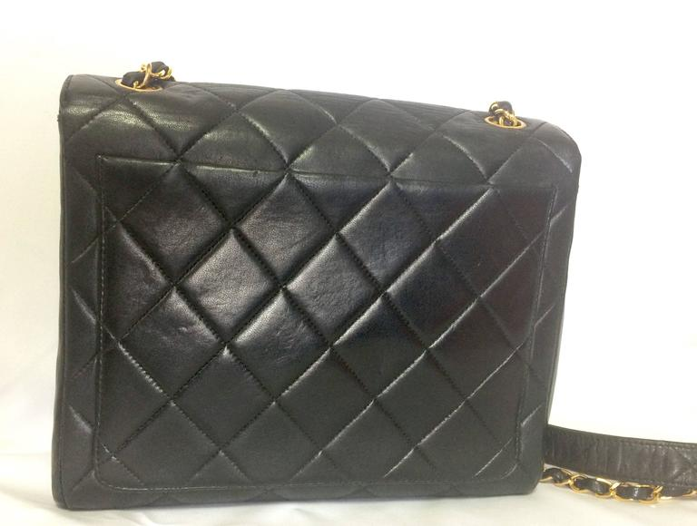 Vintage CHANEL black lamb leather 2.55 classic square shape shoulder bag with cc 3