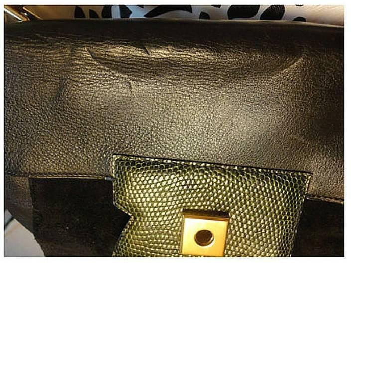 80's Vintage HERMES business portfolio bag, president in calf, suede, lizard. In Good Condition For Sale In Kashiwa, Chiba