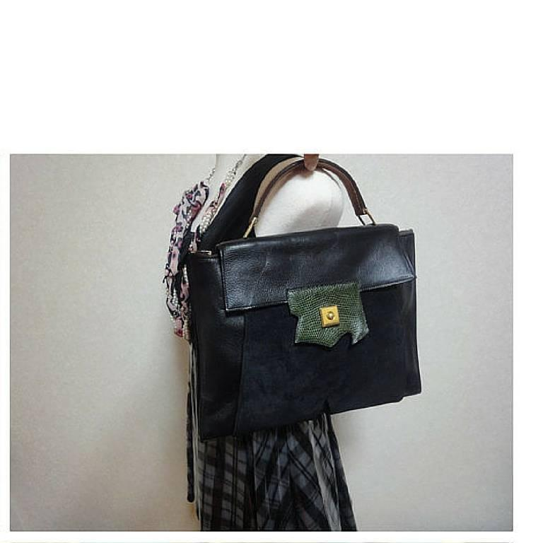 80's Vintage HERMES business portfolio bag, president in calf, suede, lizard. For Sale 5