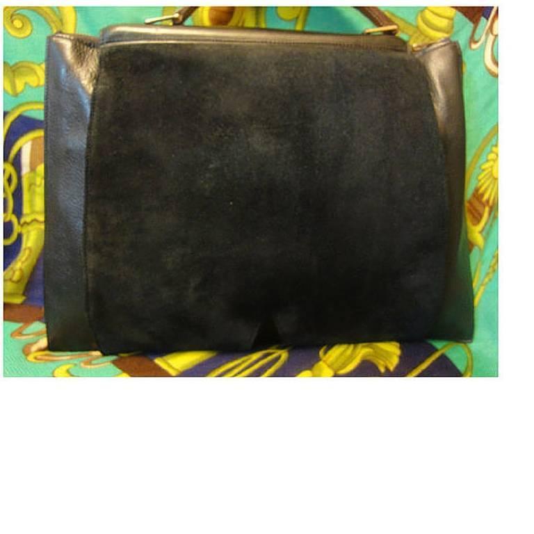 Black 80's Vintage HERMES business portfolio bag, president in calf, suede, lizard. For Sale