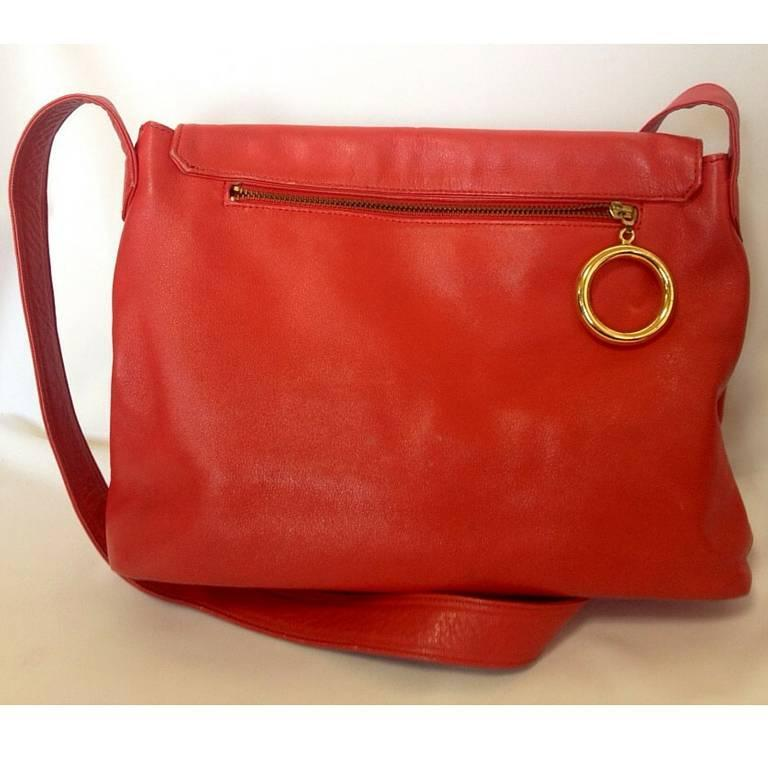 Vintage MOSCHINO red leather messenger shoulder bag with question mark, heart  2