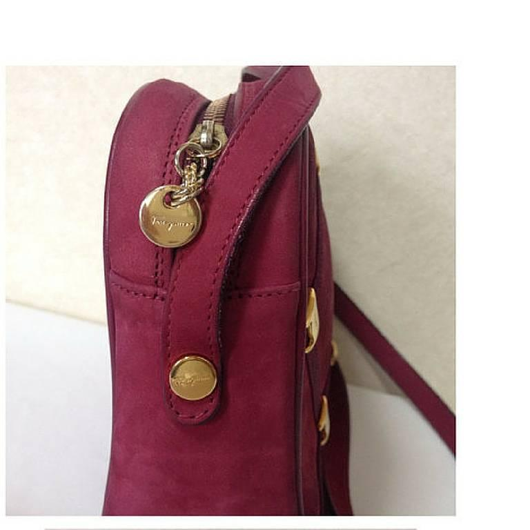Women's Vintage Salvatore Ferragamo vara motif wine, purple suede leather shoulder bag. For Sale