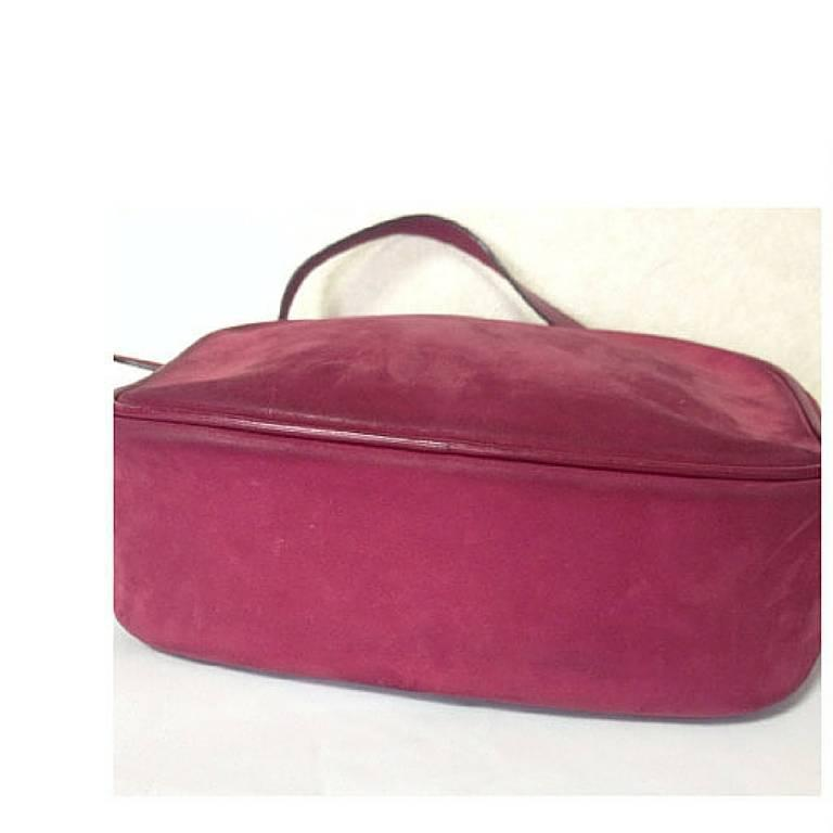 Vintage Salvatore Ferragamo vara motif wine, purple suede leather shoulder bag. For Sale 1
