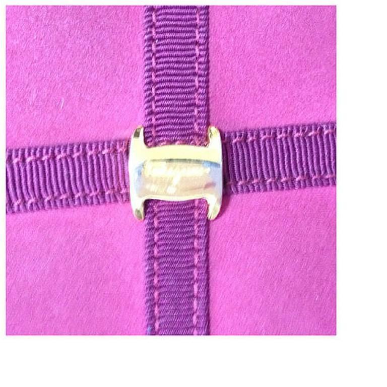 Red Vintage Salvatore Ferragamo vara motif wine, purple suede leather shoulder bag. For Sale
