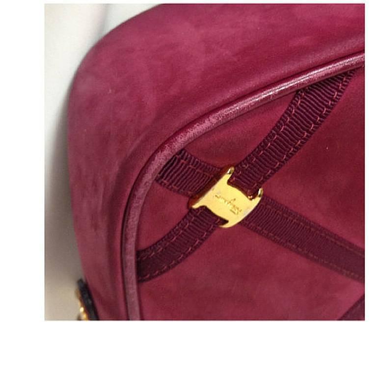 Vintage Salvatore Ferragamo vara motif wine, purple suede leather shoulder bag. For Sale 2