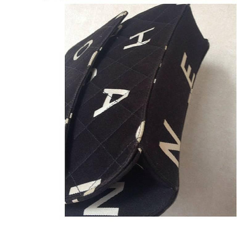 Vintage CHANEL black fabric canvas chain handbag with white Chanel cc logo print 3