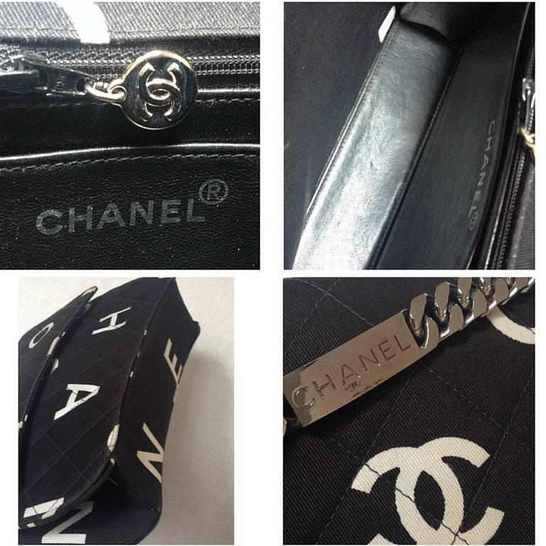 Vintage CHANEL black fabric canvas chain handbag with white Chanel cc logo print 8