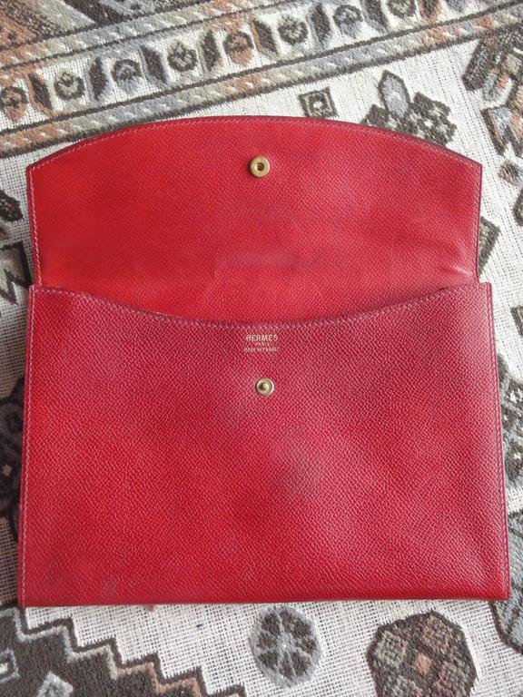 80s vintage HERMES brick red leather clutch pouch. can be wallet purse as well. 9