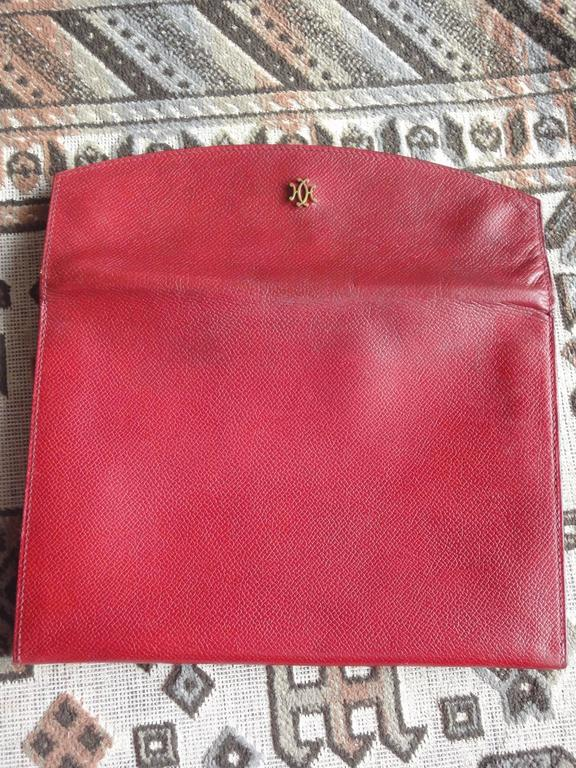 80s vintage HERMES brick red leather clutch pouch. can be wallet purse as well. 8